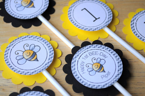 12,Birthday,Cupcake,Toppers,-,Bumble,Bee,Theme,Happy,BEE-Day,cupcake toppers, party decorations, cake decorations, 1st birthday cupcake toppers, personalized cupcake toppers