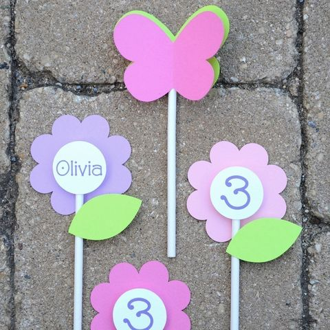 12,Birthday,Cupcake,Toppers,-,Flowers,and,Butterflies,Girls,1st,Party,Decorations,cupcake toppers, party decorations, cake decorations, 1st birthday cupcake toppers, personalized cupcake toppers