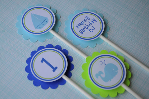 12,Birthday,Cupcake,Toppers,-,Nautical,,Whale,,Sailboat,cupcake toppers, party decorations, cake decorations, 1st birthday cupcake toppers, personalized cupcake toppers