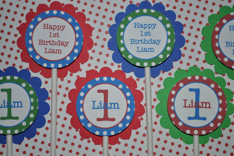 12,Birthday,Cupcake,Toppers,-,Primary,Colors,,Polkadots,Personalized,Boys,Party,Decorations,cupcake toppers, party decorations, cake decorations, 1st birthday cupcake toppers, personalized cupcake toppers