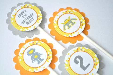 12,Birthday,Cupcake,Toppers,-,Robot,Space,Invaders,Personalized,Orange,,Yellow,,Gray,Boys,Party,Decorations,cupcake toppers, party decorations, cake decorations, 1st birthday cupcake toppers, personalized cupcake toppers