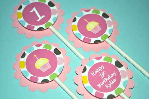 12,Birthday,Cupcake,Toppers,Personalized,-,Cupcakes,and,Polkadots,cupcake toppers, party decorations, cake decorations, 1st birthday cupcake toppers, personalized cupcake toppers