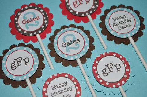 12,Birthday,Party,Cupcake,Toppers,-,Red,,Brown,and,Blue,,Polkadots,Personalized,cupcake toppers, party decorations, cake decorations, 1st birthday cupcake toppers, personalized cupcake toppers