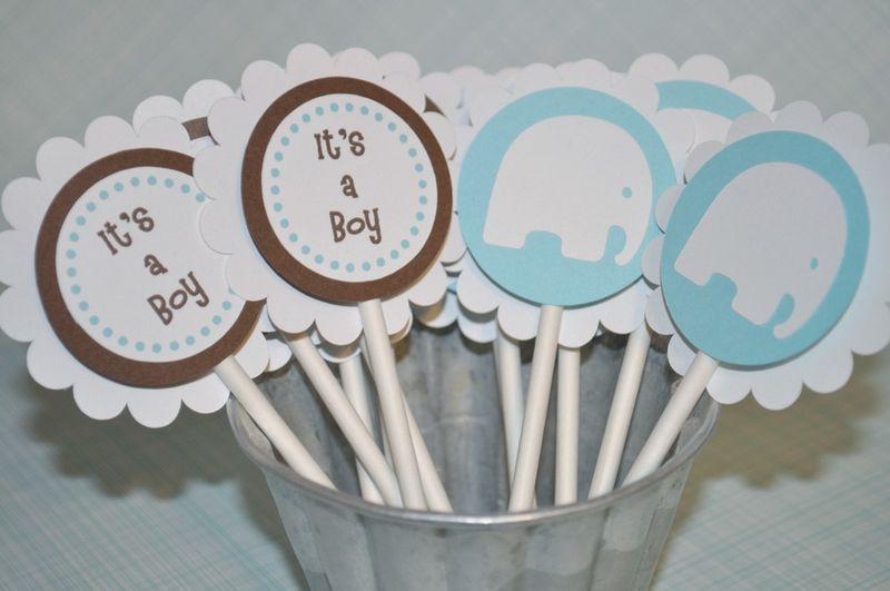 12 Boys Baby Shower Cupcake Toppers   Itu0027s A Boy   Elephant Theme Blue And  Brown