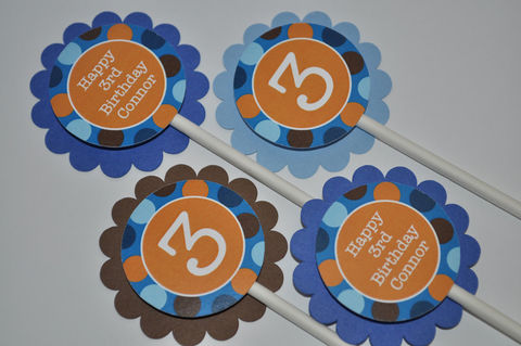 12,Boys,Birthday,Cupcake,Toppers,-,Blue,,Orange,and,Brown,Polkadots,Personalized,Party,Decorations,cupcake toppers, party decorations, cake decorations, 1st birthday cupcake toppers, personalized cupcake toppers