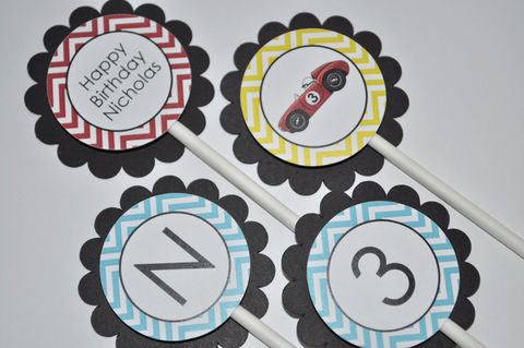 12,Boys,Birthday,Cupcake,Toppers,-,Chevron,Decorations,,Race,Car,Party,Decorations,in,Blue,,Red,,Yellow,&,Black,cupcake toppers, party decorations, cake decorations, 1st birthday cupcake toppers, personalized cupcake toppers