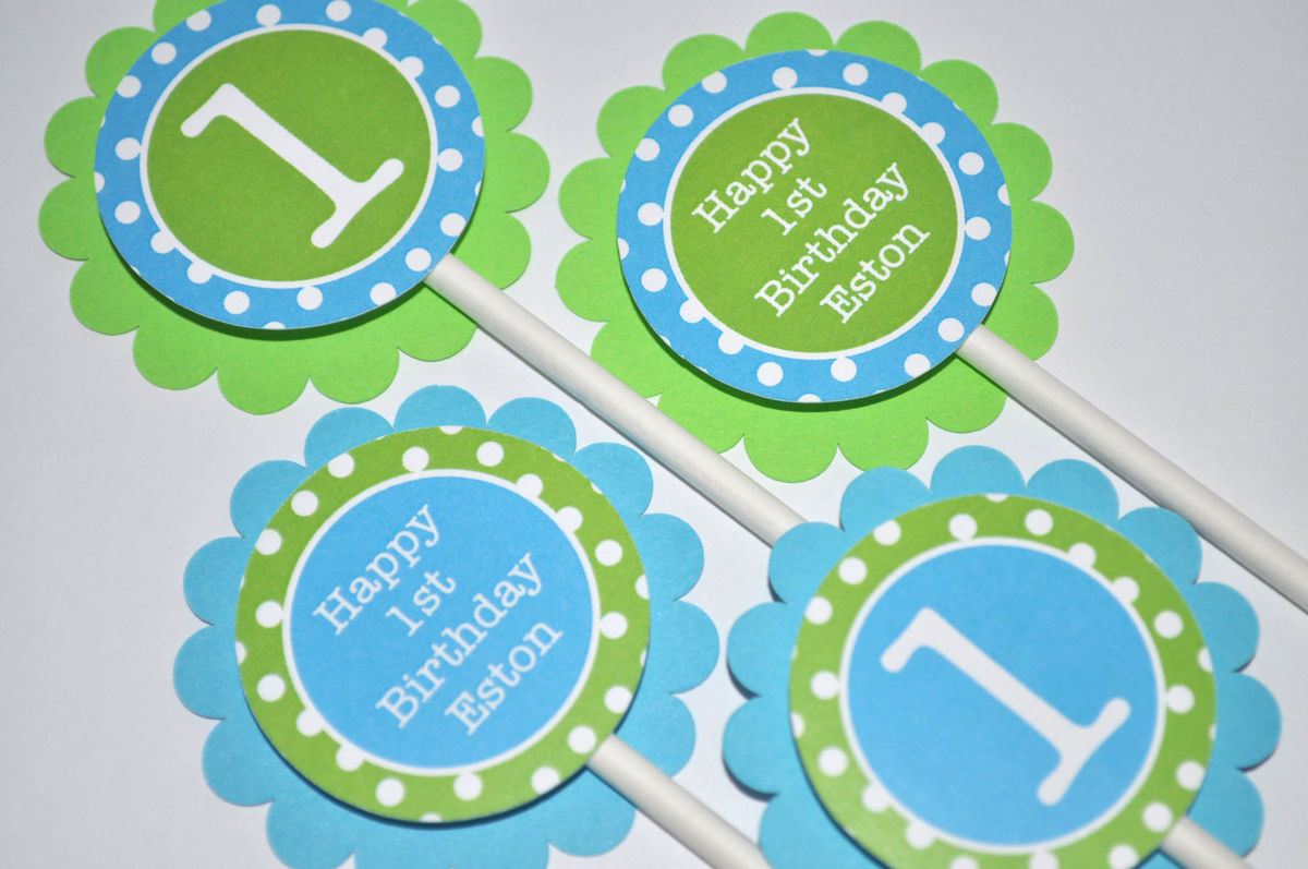 12 Boys Birthday Cupcake Toppers Lime Green and Teal Blue