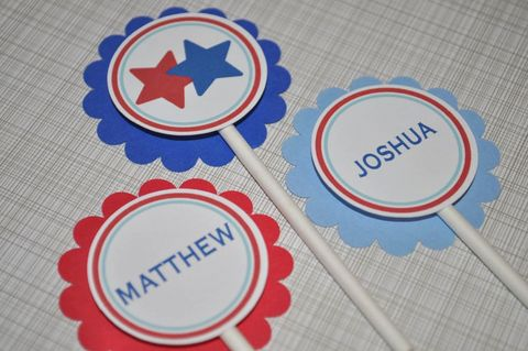12,Boys,Birthday,or,Baby,Shower,Cupcake,Toppers,-,Sports,All,Star,Theme,Red,,White,and,Blue,cupcake toppers, party decorations, cake decorations, 1st birthday cupcake toppers, personalized cupcake toppers