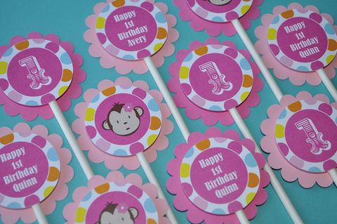 12,Circus,1st,Birthday,Cupcake,Toppers,-,Monkey,and,Polkadot,Theme,cupcake toppers, party decorations, cake decorations, 1st birthday cupcake toppers, personalized cupcake toppers
