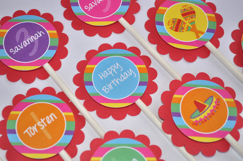 12,Cupcake,Toppers,-,1st,Birthday,Party,Fiesta,Girls,and,Boys,Decorations,cupcake toppers, party decorations, cake decorations, 1st birthday cupcake toppers, personalized cupcake toppers