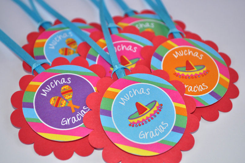 12 Cupcake Toppers - 1st Birthday Party - Fiesta - Girls and Boys Birthday Party Decorations - product images  of