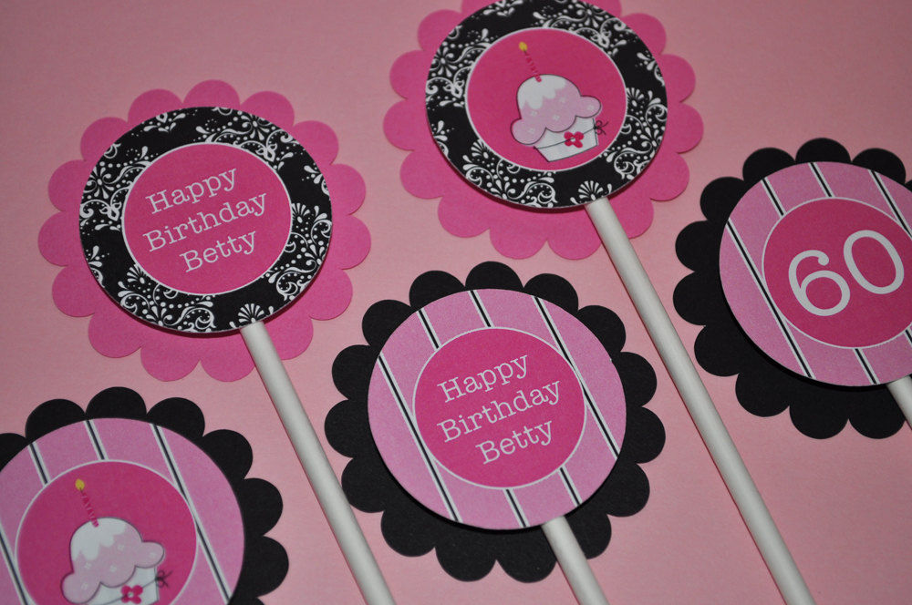 12 Cupcake Toppers Birthday or Baby Shower Pink and Black So