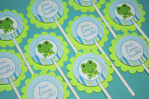 12,Cupcake,Toppers,-,Boys,Baby,Shower,or,Birthday,Frog,Theme,cupcake toppers, party decorations, cake decorations, 1st birthday cupcake toppers, personalized cupcake toppers