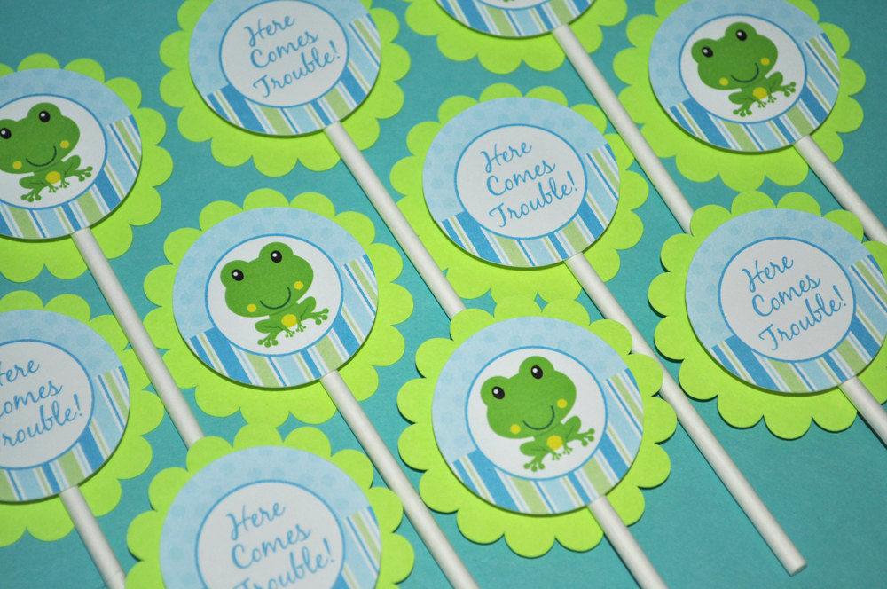 12 Boys Birthday Cupcake Toppers - Chevron Birthday Decorations