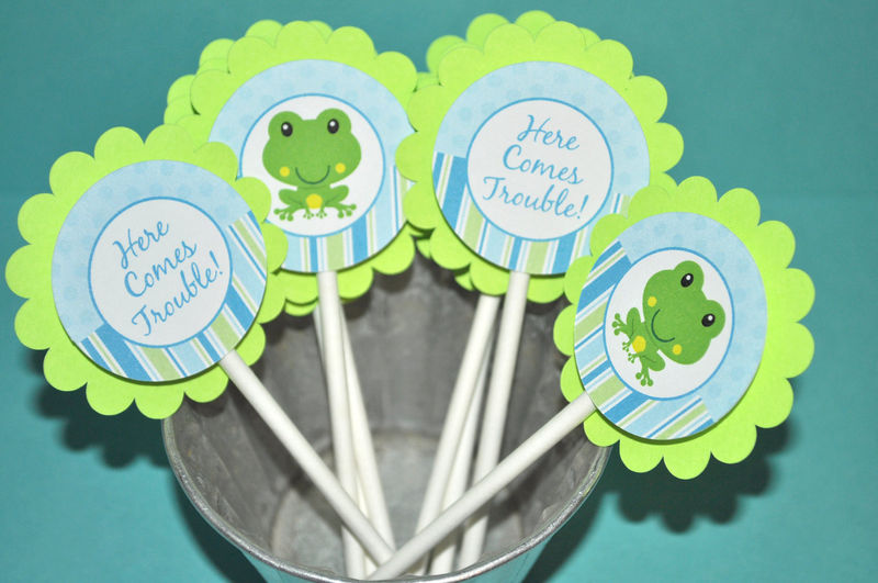 cupcake toppers  boys baby shower or birthday frog theme  so, Baby shower invitation