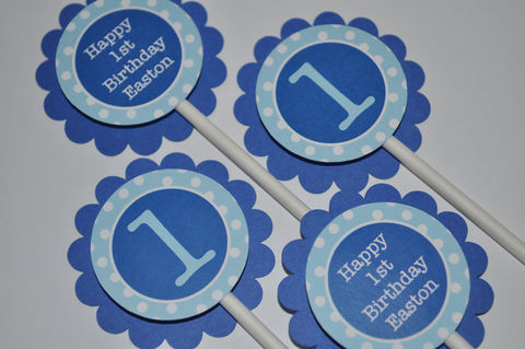 12,Cupcake,Toppers,-,Dark,Blue,and,Light,Polkadot,Personalized,Birthday,Party,Decorations,cupcake toppers, party decorations, cake decorations, 1st birthday cupcake toppers, personalized cupcake toppers