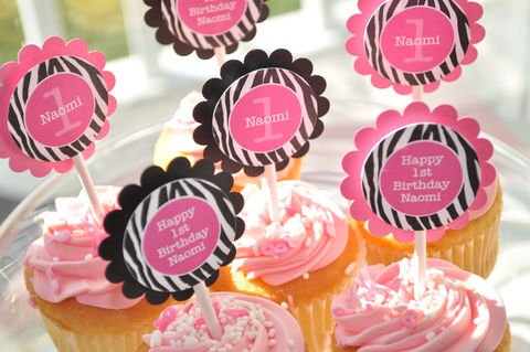 12,Cupcake,Toppers,-,Girl's,1st,Birthday,Party,Zebra,Stripe,Pink,,Black,and,White,Decorations,cupcake toppers, party decorations, cake decorations, 1st birthday cupcake toppers, personalized cupcake toppers