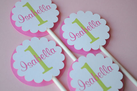 12,Cupcake,Toppers,-,Girl's,1st,Birthday,Party,Pink,and,Green,Personalized,cupcake toppers, party decorations, cake decorations, 1st birthday cupcake toppers, personalized cupcake toppers
