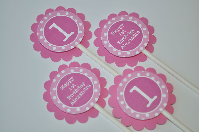 12 Cupcake Toppers Girls 1st Birthday Party Polkadots Pink and