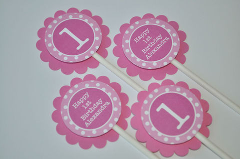 12,Cupcake,Toppers,-,Girl's,1st,Birthday,Party,Polkadots,Pink,and,White,Personalized,cupcake toppers, party decorations, cake decorations, 1st birthday cupcake toppers, personalized cupcake toppers