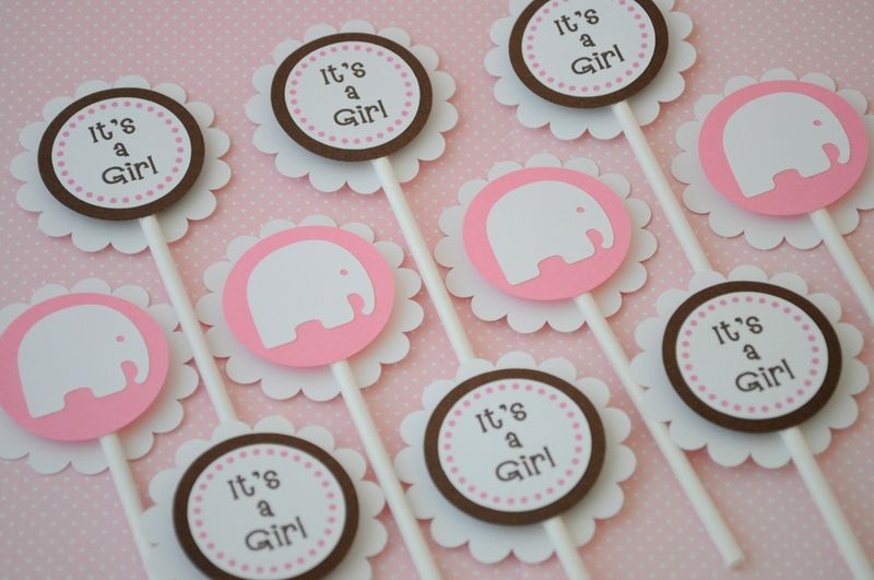 12 Cupcake Toppers   Girls Baby Shower   Elephant Theme   Pink And Brown    So Sweet Party Shop