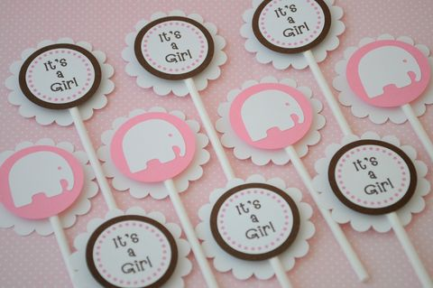 12,Cupcake,Toppers,-,Girls,Baby,Shower,Elephant,Theme,Pink,and,Brown,cupcake toppers, party decorations, cake decorations, 1st birthday cupcake toppers, personalized cupcake toppers