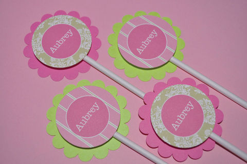 12,Cupcake,Toppers,-,Girls,Baby,Shower,or,Birthday,Pink,and,Green,cupcake toppers, party decorations, cake decorations, 1st birthday cupcake toppers, personalized cupcake toppers