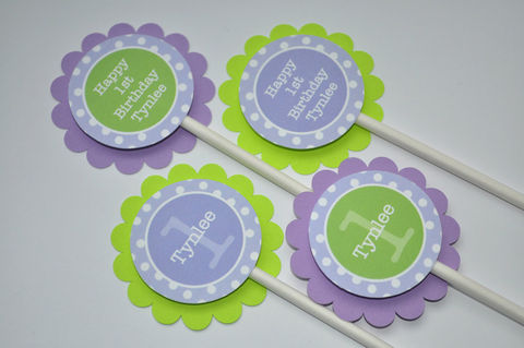 12,Cupcake,Toppers,-,Polkadots,Lavender,Purple,and,Lime,Green,Girls,Birthday,Party,Decorations,cupcake toppers, party decorations, cake decorations, 1st birthday cupcake toppers, personalized cupcake toppers