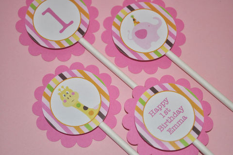 12,Cupcake,Toppers,1st,Birthday,-,Elephant,and,Giraffe,Stripes,cupcake toppers, party decorations, cake decorations, 1st birthday cupcake toppers, personalized cupcake toppers
