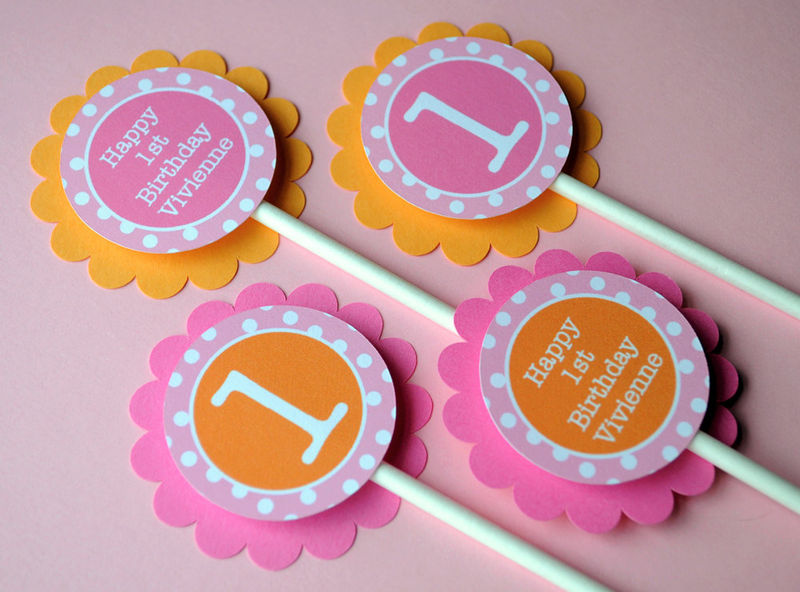 12 Cupcake Toppers 1st Birthday Orange Pink and White Polkadots
