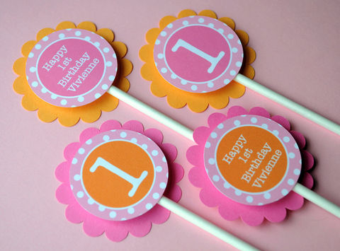12,Cupcake,Toppers,1st,Birthday,-,Orange,,Pink,and,White,Polkadots,cupcake toppers, party decorations, cake decorations, 1st birthday cupcake toppers, personalized cupcake toppers