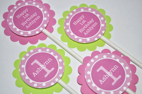 12,Cupcake,Toppers,1st,Birthday,-,Pink,,Lime,Green,and,White,Polkadots,cupcake toppers, party decorations, cake decorations, 1st birthday cupcake toppers, personalized cupcake toppers