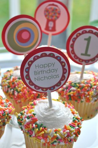 12,Cupcake,Toppers,1st,Birthday,-,Red,Bubblegum,Theme,,Boy,or,Girl,cupcake toppers, party decorations, cake decorations, 1st birthday cupcake toppers, personalized cupcake toppers