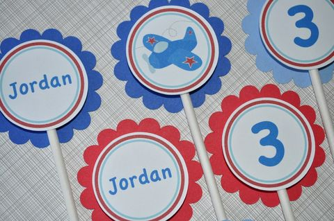 12,Cupcake,Toppers,Boys,Birthday,Airplane,Theme,cupcake toppers, party decorations, cake decorations, 1st birthday cupcake toppers, personalized cupcake toppers