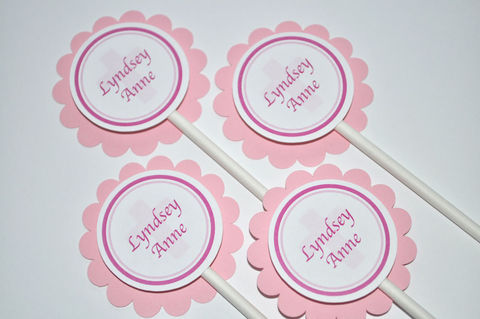 12,Cupcake,Toppers,Girls's,Baptism,,First,Communion,cupcake toppers, party decorations, cake decorations, 1st birthday cupcake toppers, personalized cupcake toppers