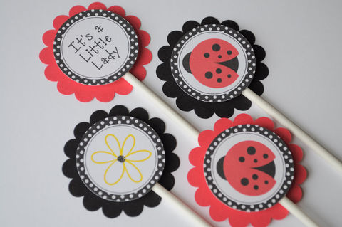 12,Cupcake,Toppers,Ladybug,Personalized,-,Birthdays,or,Baby,Showers,Party,Decorations,cupcake toppers, party decorations, cake decorations, 1st birthday cupcake toppers, personalized cupcake toppers