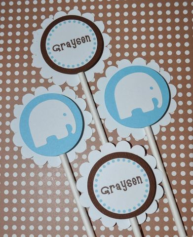 12,Elephant,Cupcake,Toppers,-,Boys,Baby,Shower,Personalized,cupcake toppers, party decorations, cake decorations, 1st birthday cupcake toppers, personalized cupcake toppers