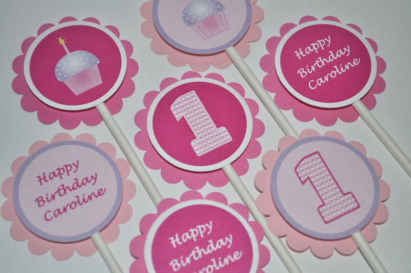 12 Girls 1st Birthday Cupcake Toppers Cupcake Theme Pink and