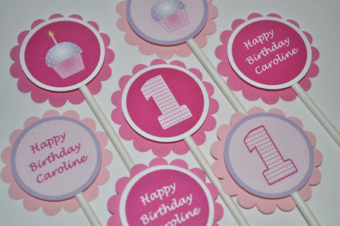 12,Girl's,1st,Birthday,Cupcake,Toppers,-,Theme,Pink,and,Purple,Personalized,cupcake toppers, party decorations, cake decorations, 1st birthday cupcake toppers, personalized cupcake toppers