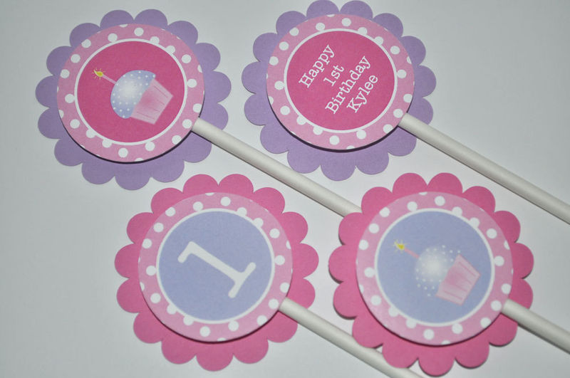 12 Girls 1st Birthday Cupcake Toppers Girls Birthday Party