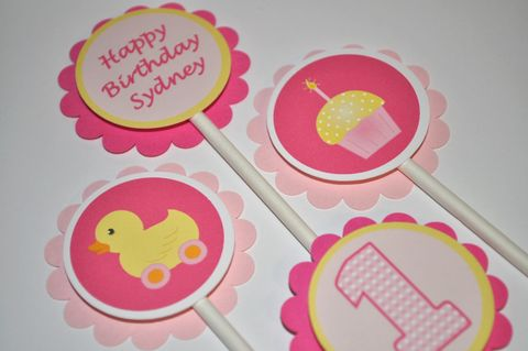 12,Girl's,1st,Birthday,Party,Cupcake,Toppers,-,Cupcake/Rubber,Ducky,Theme,Pink,and,Yellow,Personalized,cupcake toppers, party decorations, cake decorations, 1st birthday cupcake toppers, personalized cupcake toppers