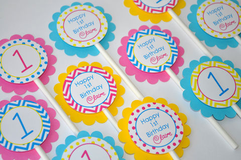 12,Girls,Birthday,Cupcake,Toppers,-,Chevron,Decorations,with,Polkadots,Teal,,Pink,,Yellow,cupcake toppers, party decorations, cake decorations, 1st birthday cupcake toppers, personalized cupcake toppers