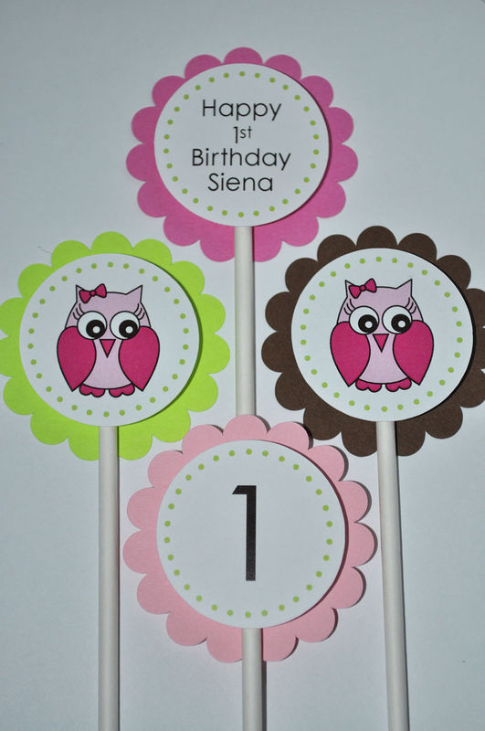 12 Owl Birthday Cupcake Toppers Girls Birthday Party Decorations