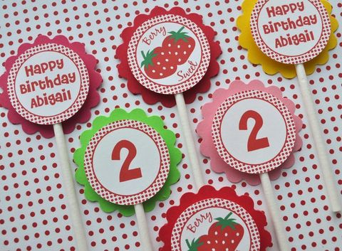 12,Strawberry,Birthday,Cupcake,Toppers,-,Berry,Sweet,Party,Personalized,Decorations,cupcake toppers, party decorations, cake decorations, 1st birthday cupcake toppers, personalized cupcake toppers