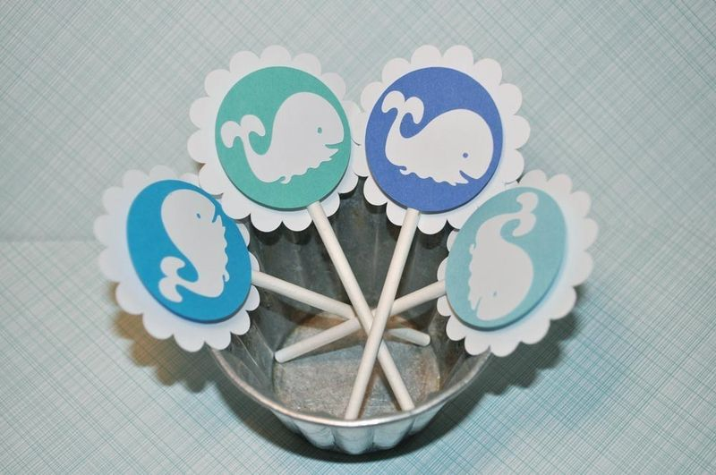 12 Whale Cupcake Toppers - Boys Baby Shower or Birthday Party - product images  of