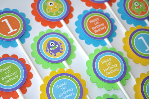 12,Monster,Birthday,Cupcake,Toppers,-,Monsters,Aliens,Personalized,Boys,1st,Decorations,cupcake toppers, party decorations, cake decorations, 1st birthday cupcake toppers, personalized cupcake toppers