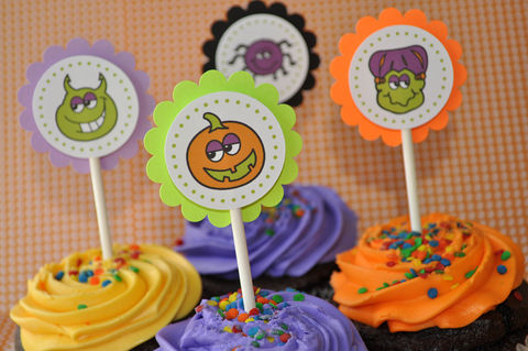 12,Halloween,Cupcake,Toppers,-,Party,Decorations,cupcake toppers, party decorations, cake decorations, 1st birthday cupcake toppers, personalized cupcake toppers