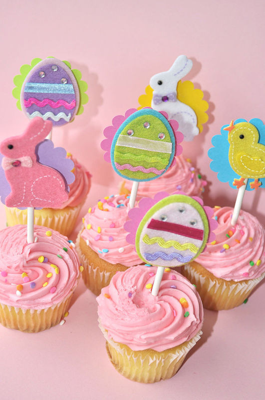 Easter Cupcake Toppers - Spring Birthday Party - Bunny and Easter Eggs - Set of 12 - product images  of