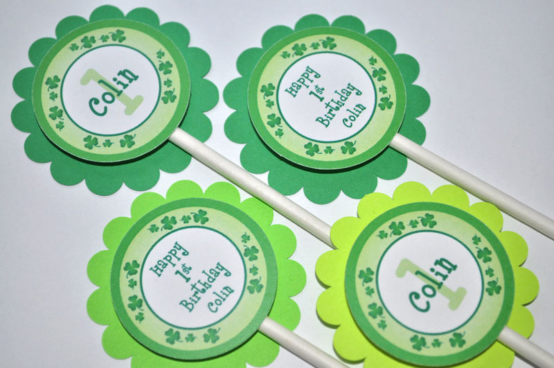 12 Cupcake Toppers - St. Patrick's Day Birthday Party Decorations- Shamrocks, Clovers, Green - product images  of