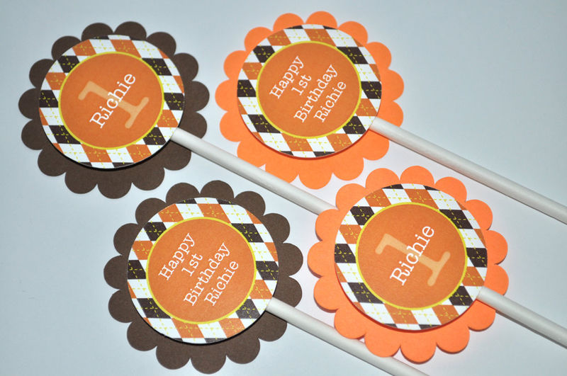 12 birthday cupcake toppers argyle halloween autumn birthday party decorations fall colors - Halloween Birthday Party Decorations